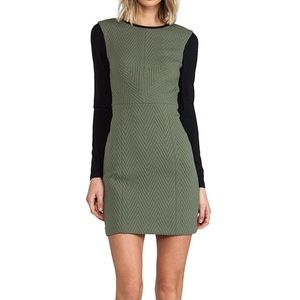Tibi Quilted Zig Zag Fitted Dress